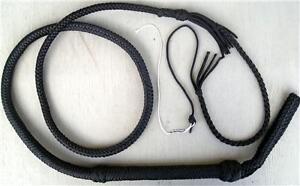 12-Plait-Bull-Whip-Custom-Black-Cat-6-Foot-Long-Nylon-Bullwhip-Whips