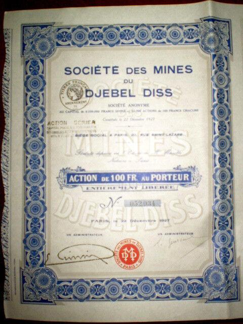 Soc.des Mines du Djebel Diss,Share certif.Algeria 1927