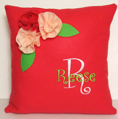 Monogrammed Felt Pillow Cover - U Pick Name & Colors