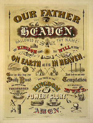 HUGE Odd Fellows LORD'S PRAYER Art Print Poster ring Parchment IOOF