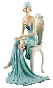 Art-Deco-Broadway-Belles-Lady-Figurine-Figurines-Ornament-Statue-Blue-Teal-79