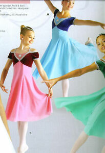 NWT-Ballet-Dress-Velvet-Crepe-Skirt-Silver-Braid-Child-pistachio-green-Small