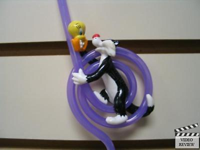 Sylvester/tweety Ring Sipper Straw Applause 1998; Purple Straw