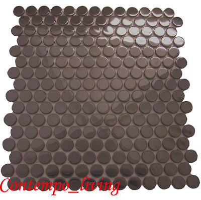Round Glossy Black Finish Stainless Steel Mosaic Tile