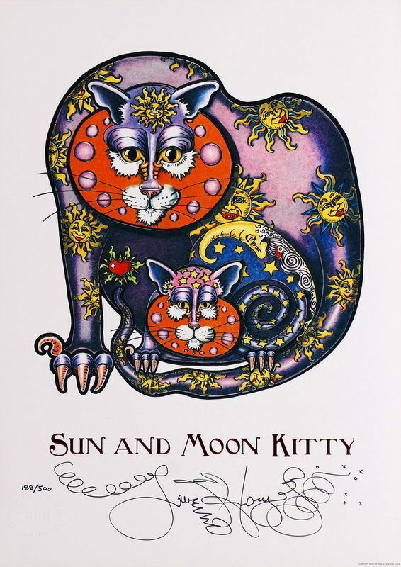 SUN MOON KITTY Jamie Hayes ART Poster PRINT cat kitten