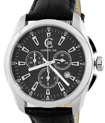 CERRUTI 1881 MENS TRADIZIONE CHRONOGRAPH SWISS MADE WATCH NEW BLACK CT100271S03