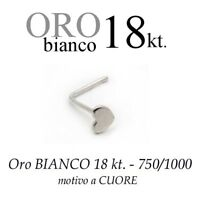 Piercing Da Naso In Oro Bianco White Gold 18kt. Con Cuore Liscio With Heart -  - ebay.it