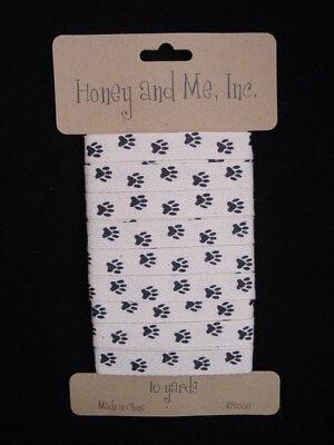 Paw Print Cotton Ribbon 10 Yards Craft Honey & Me