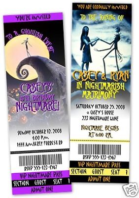 Nightmare Before Christmas Party Invitations Favors