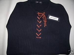 Maglione-RIBOT-maglia-costine-collo-con-laccio-cuoio