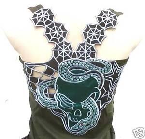 SNAKE-GOTHIC-SKULL-Tattoo-Designer-Tank-Top-Shirt-XS-S