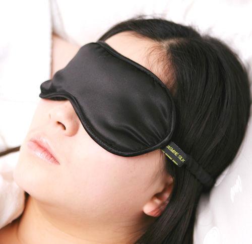 jasmine silk pure silk filled sleep eye mask sleeping blindfold black ebay. Black Bedroom Furniture Sets. Home Design Ideas