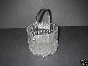 Teleflora France Glass Ice Bucket Chrome Handle RainDrop textured BARWARE
