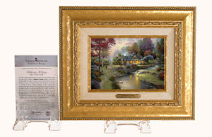 NIB Thomas Kinkade ART Brushworks Print Canvas STILLWATER COTTAGE Framed 11x13