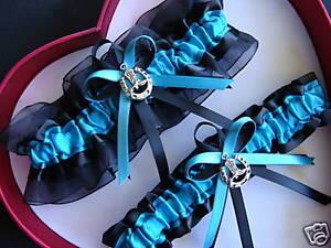 Wedding Garter SET Turquoise Black Horseshoe Country