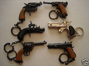 "2""- 2 1/2"" VINTAGE GUNS KEYCHAINS SET OF 6 DIE CAST COLLECTORS F/S"