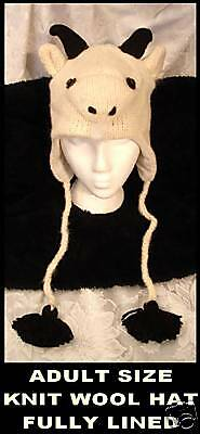 GOAT-HAT-knit-FAST-US-SHiP-fleece-Ln-ADULT-alpaca-cap-county-fair-Costume-animal