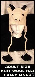 GOAT-HAT-knit-ADULT-delux-FLEECE-LINED-alpaca-ski-cap-Costume-UNISEX-mens-womens
