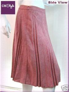 Flannel-Pleat-Long-Fashion-Skirt-Pink-M-29-5-034