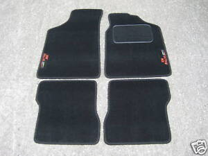 Car-Mats-in-Black-to-fit-Peugeot-106-106-Rallye-Logos