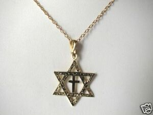 Mens-14K-Gold-Star-of-David-with-Cross-Necklace-Faith