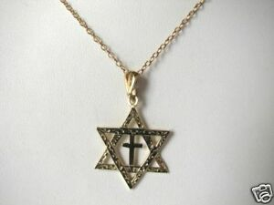 Men-039-s-14K-Gold-Star-of-David-with-Cross-Necklace-Faith