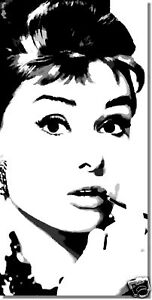 audrey hepburn pop art original bild handgemalt 50x100 cm leinwand. Black Bedroom Furniture Sets. Home Design Ideas