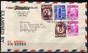 Peru 1943 mixed franked censored airmailcover to USA VF