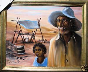 Johannes-Karl-Schulz-oil-titled-039-Opal-Miner-amp-Daughter-039-Australia