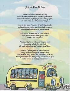 SCHOOL BUS DRIVER Poem Prayer Personalized Name Print | eBay