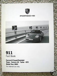 porsche 911 carrera gt2 c4s 911 turbo fact book brochure 2003 usa edition ebay. Black Bedroom Furniture Sets. Home Design Ideas
