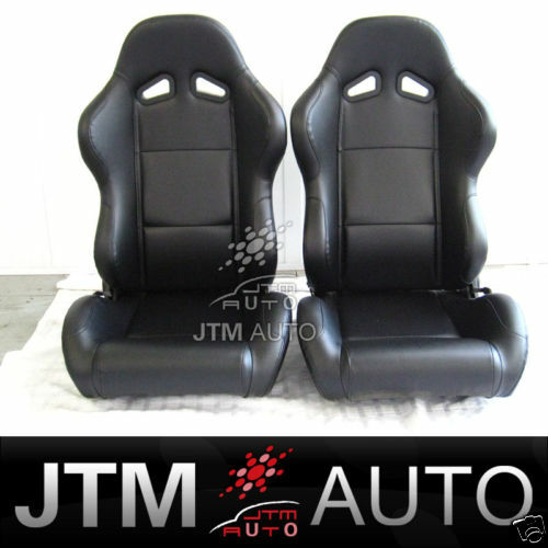 PAIR BLACK PU LEATHER ADJUSTABLE RACING SPORT SEATS