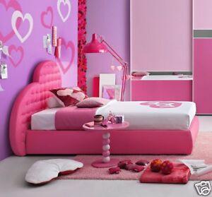 Letto cuore piazza e mezza bambina imbottito ecopelle rosa - Letto baldacchino bambina ...