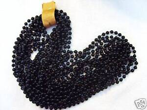1-DOZ-12-strands-BLACK-MARDI-GRAS-PARTY-BEADS-OVER-the-HILL-BIRTHDAY