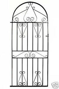 WROUGHT IRON METAL GARDEN SIDE GATE Mayfair Bow Top 3ft