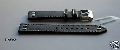 20MM Black Aviator Pilot with 3 SOLID Stainless Genuine Leather watch band strap