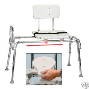 Snap N Save Sliding Transfer Bench 67311 W Cut Out Seat Lock Bath Shower Chair Ebay