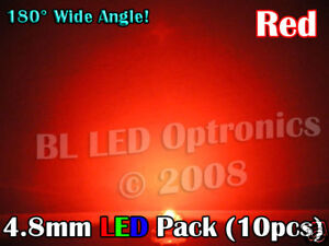 10x-Ultra-Wide-Angle-4-8mm-5mm-LED-Pack-PCB-Kit-Red