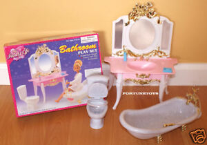 GLORIA FURNITURE SZ DELUXE BATHROOM W/ TUB & Mirror PLAY SET DOLLHOUSE .