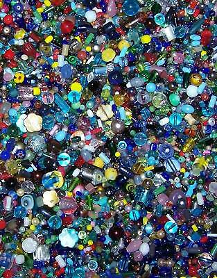 LOT Of 100 Assorted Glass Bead Assortment, Mixed Colors 3-13mm