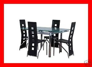 Glass EXTENDING square DINING TABLE and chairs SET
