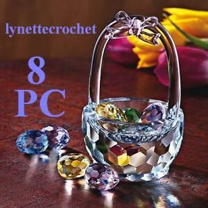 8-PC-FACETED-CRYSTAL-EASTER-BASKET-EGGS-FIGURINE-NEW