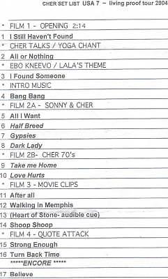 Cher Set List Living Proof Tour 2004 Concert Nov 9