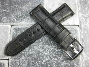 22mm Alligator Grain Leather Strap Black Watch Band for MONTBLANC Tang Buckle