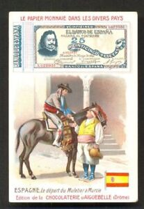 Espana-Spain-Banknote-Money-Donkey-Flag-ca-1899