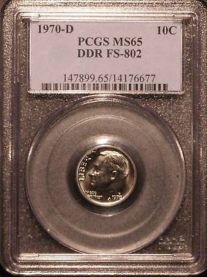 Click now to see the BUY IT NOW Price! 1970-D ROOSEVELT DIME PCGS MS65 DDR FS-802  6677