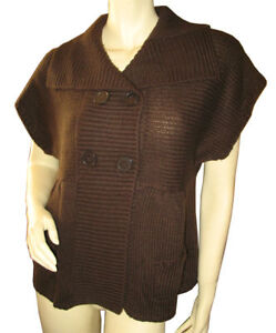 Womens-Chocolate-Brown-Knit-Outerwear-Jacket-Coat-TOP-Large-Lrg-L