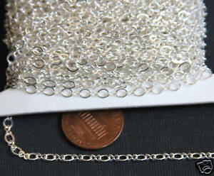 32 ft Silver Plated Figure 8 Connector Chain 2.5X3.1mm