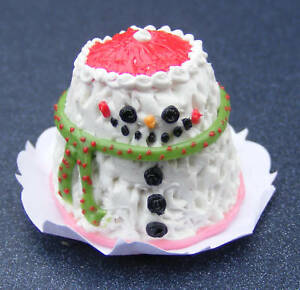 1-12-Scale-Christmas-Snowman-Cake-Dolls-House-Miniature-NC61