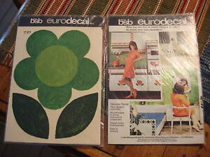 Vintage-Retro-BSB-EURODECAL-TRANSFER-Green-Flower